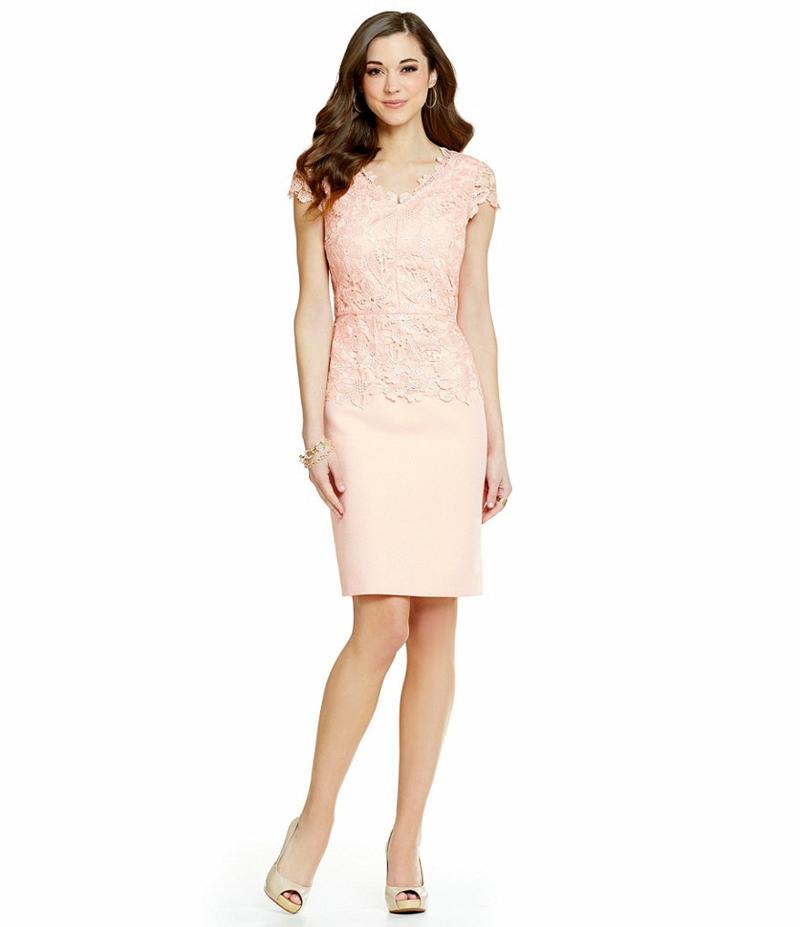 Brautmode Kleid für Standesamt Etuikleid mit Spitze in hellem Rosa