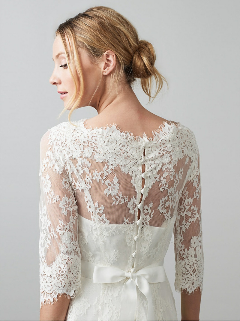 Brautmode Kleid für Standesamt Rücken Spitze