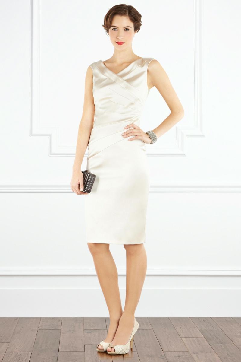 Brautmode Kleid für Standesamt knielang Etuikleid ärmellos
