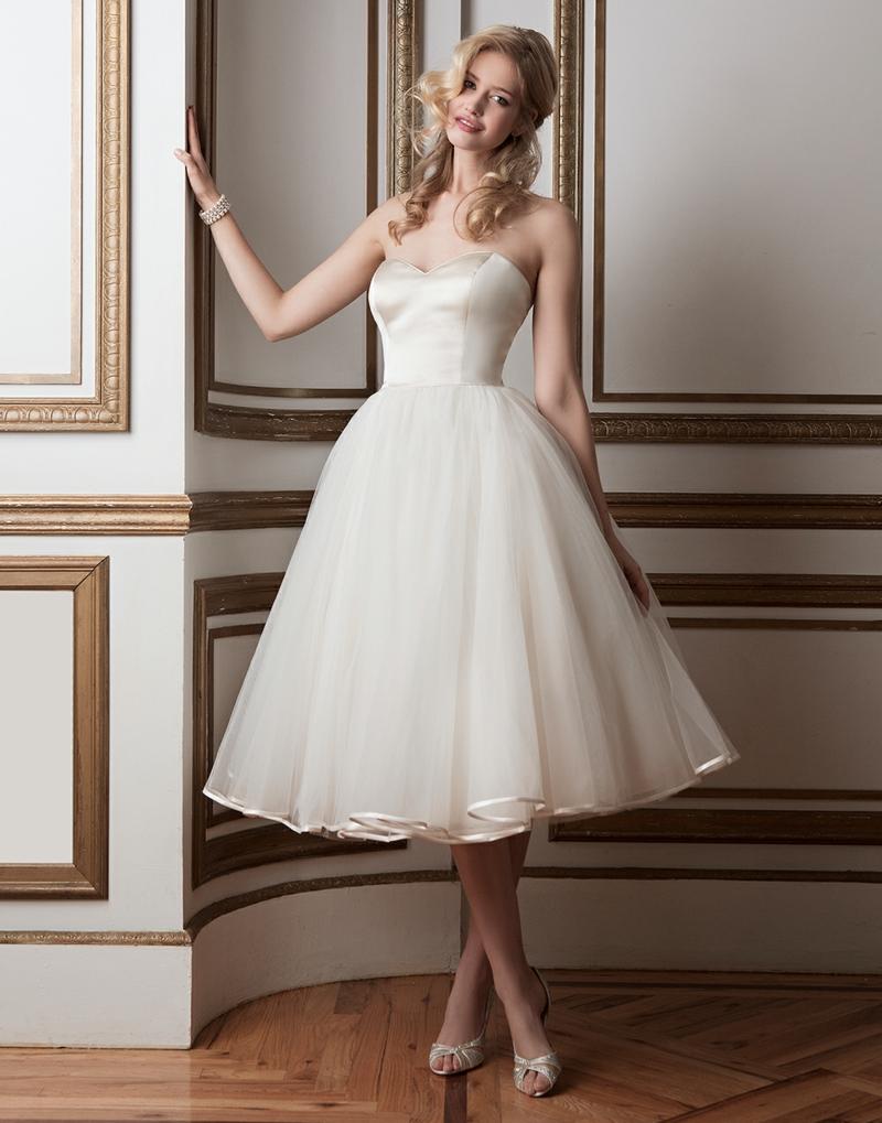 Brautmode Kleid für Standesamt knielang Retro Tellerrock
