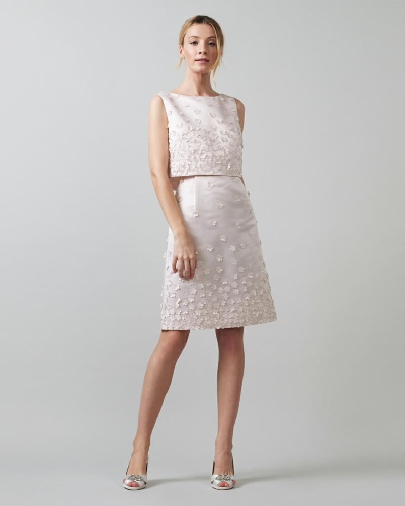 Brautmode Kleid für Standesamt knielang Rock mit Dekoblumen