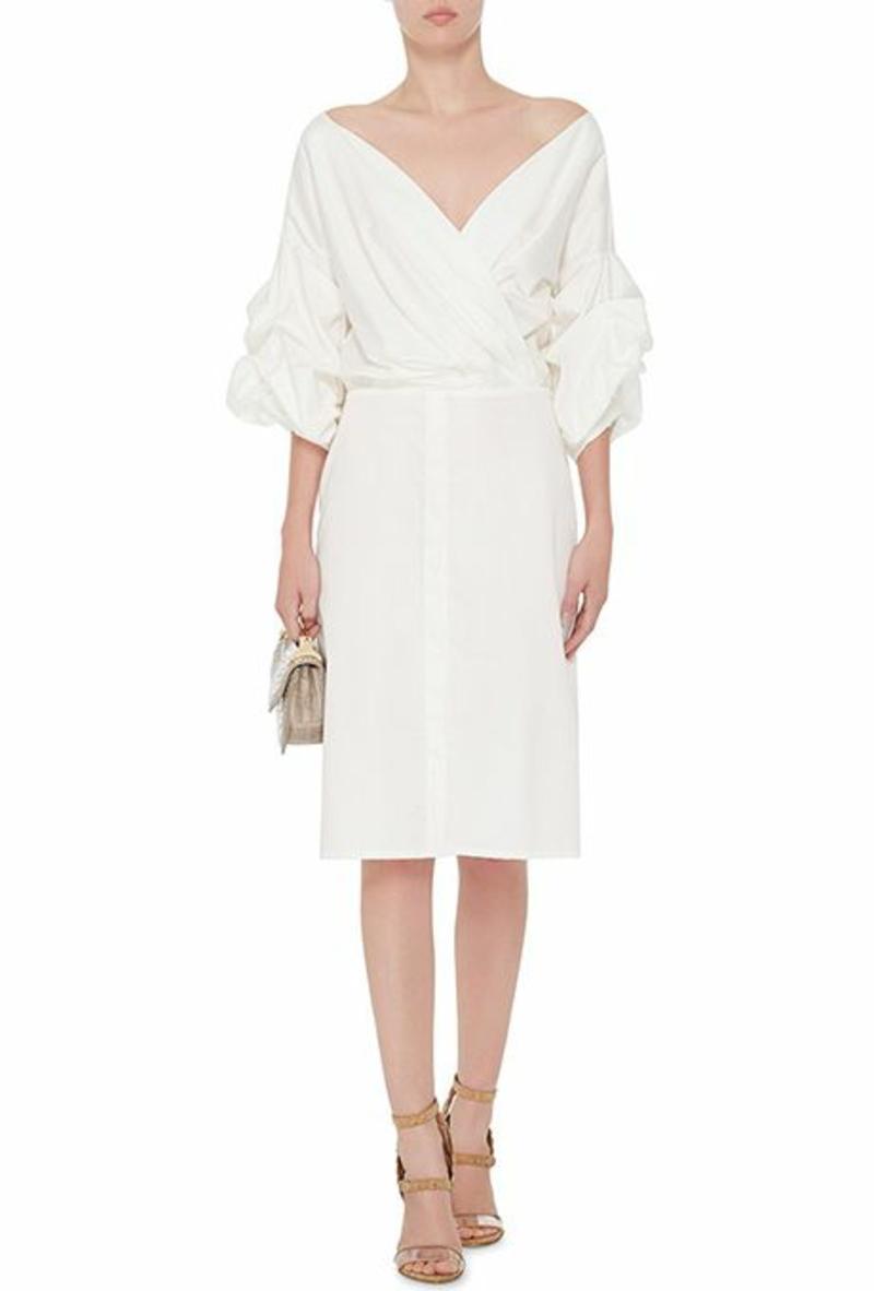 Brautmode Kleid für Standesamt knielang casual V-Ausschnitt