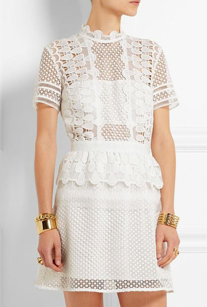 Brautmode Kleid für Standesamt kurz elegant durchsichtiger Stoff