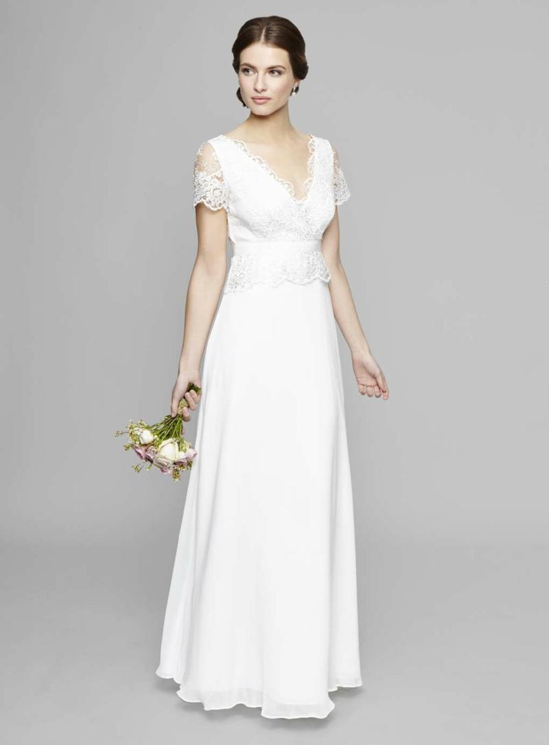Brautmode Kleid für Standesamt lang V-Ausschnitt
