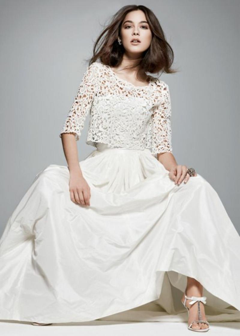 Brautmode Kleid für Standesamt langes Hochzeitskleid mit Spitzentop