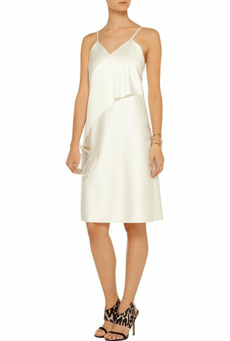 Brautmode Kleid für Standesamt schlicht und elegant Trägerkleid