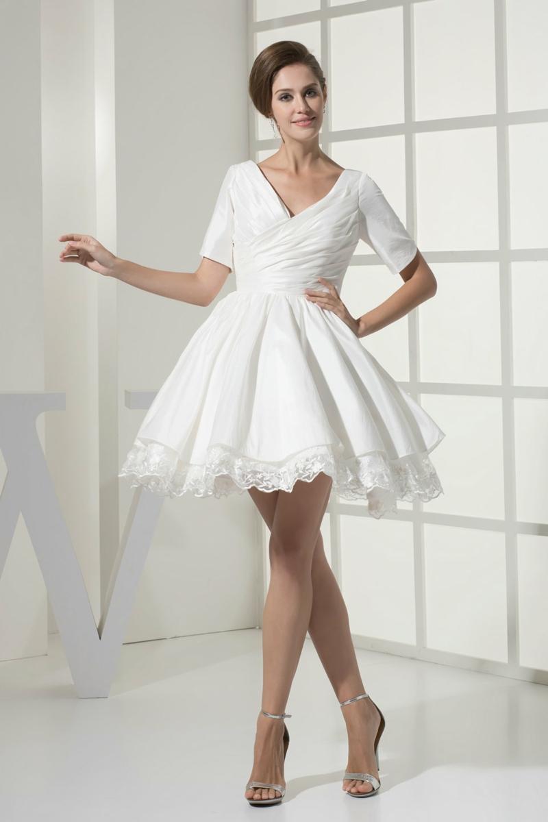 Brautmode kurzes Kleid für Standesamt V Ausschnit Tellerrock
