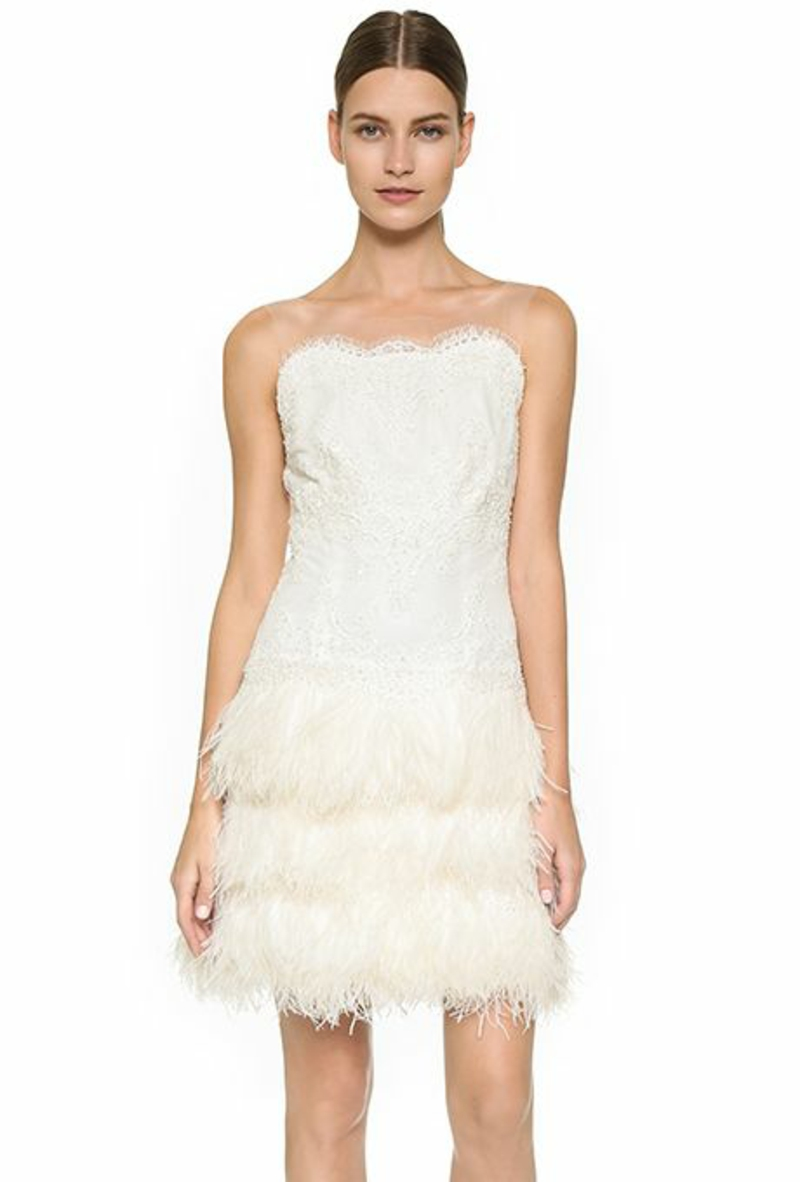 Brautmode kurzes Kleid für Standesamt mit Fransen