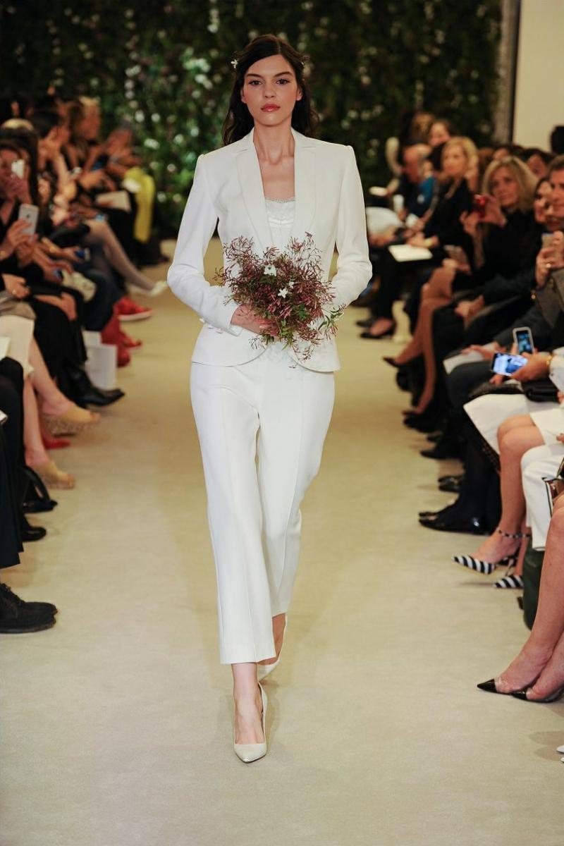 Carolina Herrera Brautmode Kleid für Standesamt Damenanzug weiß