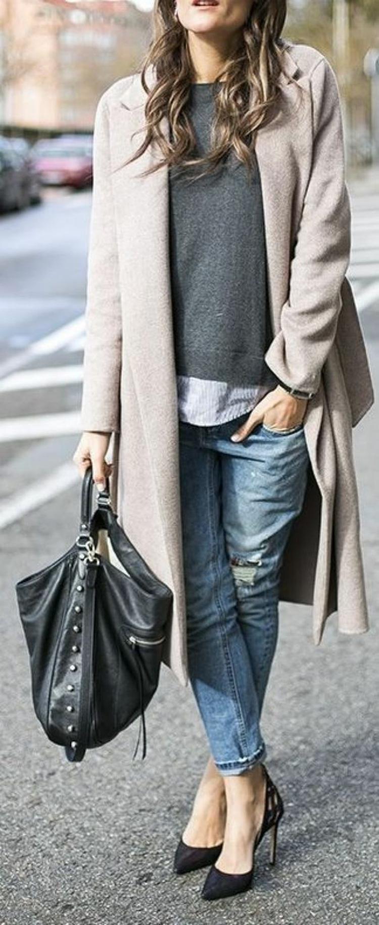 Damenmantel Straßenlook Mantel Wintermode Damen