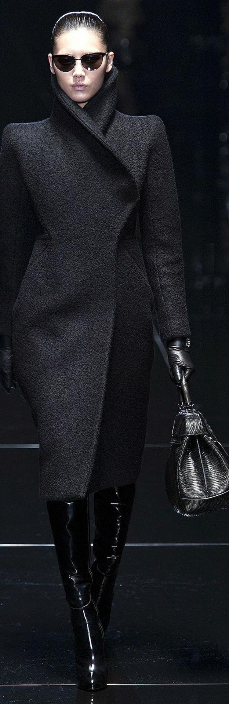 Damenmantel lang schwarz Wintermode Damen