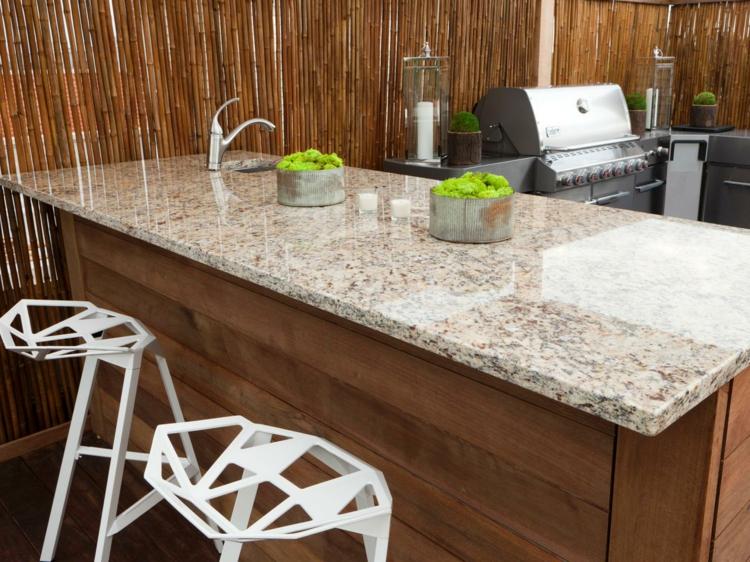 Granitarbeitsplatten Vorteile Kücheninsel Outdoor Küche gestalten