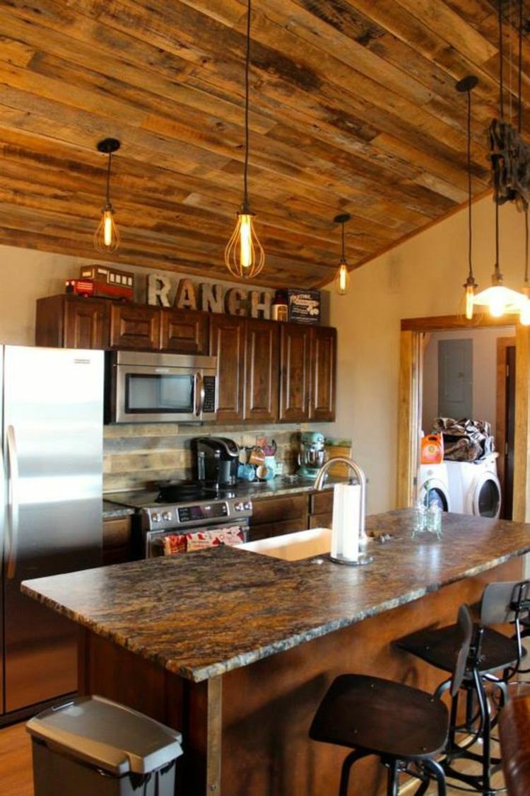 Granitarbeitsplatten Vorteile rustikale Küchengestaltung Ideen Kücheninsel