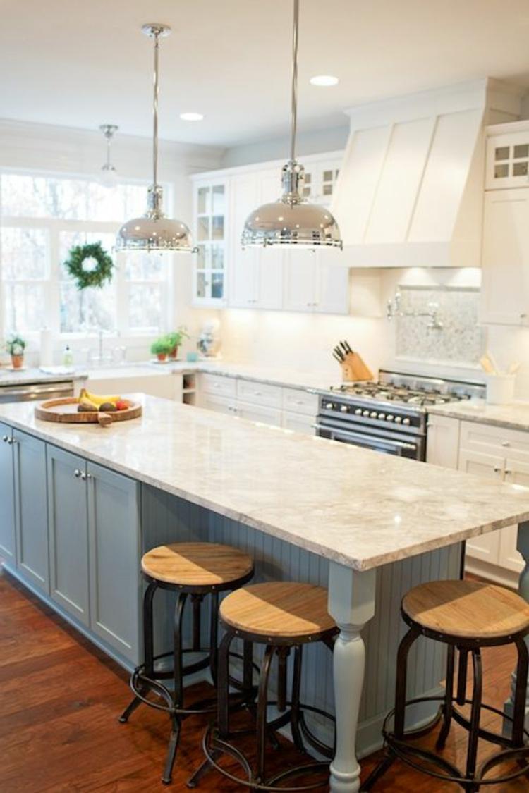 Granitarbeitsplatten hell Küchengestaltung Ideen Kücheninsel mit Barhocker