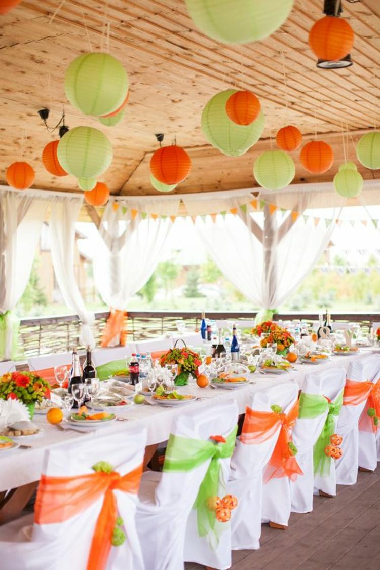 Hochzeitsfeier Ideen Hochzeitsdekoration grün orange