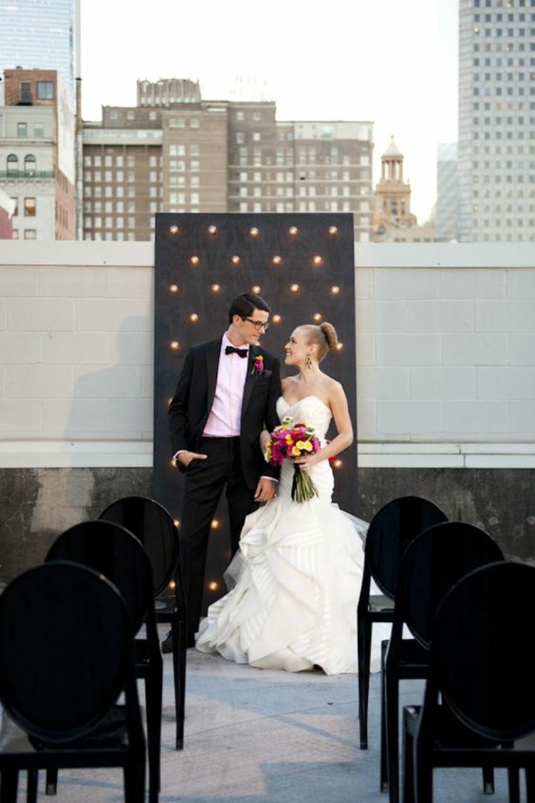 Hochzeitsfeier Ideen Schwarz Weiß Hochzeitsdeko Stadtwohnung Dachterasse