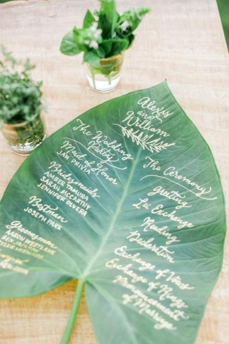 Hochzeitsfeier Ideen grün Grünpflanzen Blatt