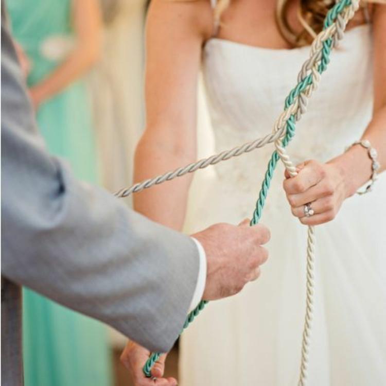 Hochzeitsfeier mintgrüner Seil flechten Traditionen Hochzeitsdeko selber machen