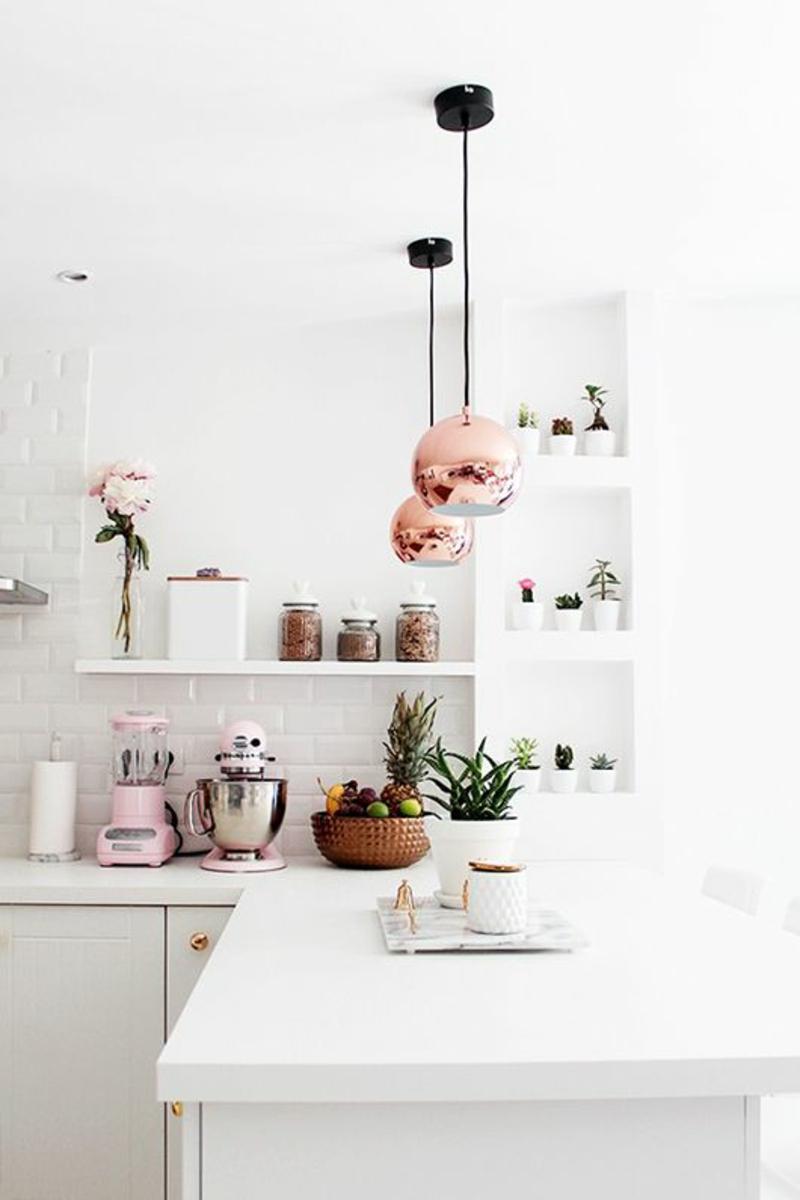 Inneneinrichtung planen Küchenideen Möbel Kücheninsel Pendelleuchten Kupfer