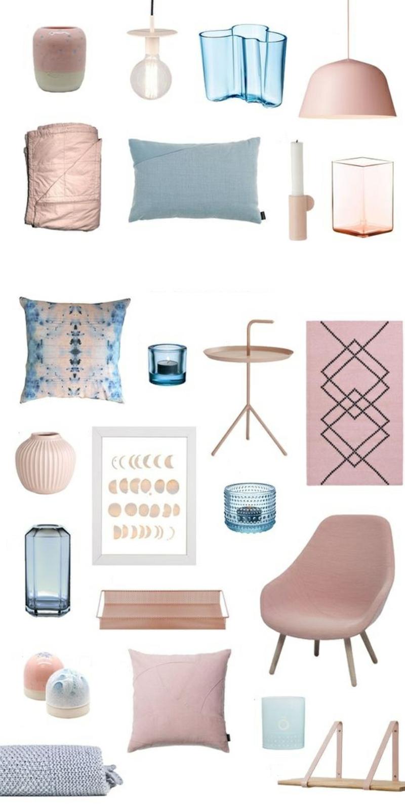 Inneneinrichtung planen Möbel Trendfarben Rosa Blau