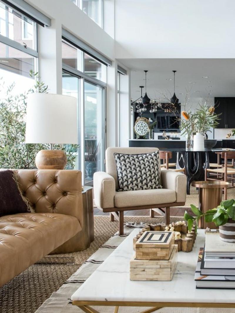 Inneneinrichtung planen Wohnzimmer Möbel Ledersofa klassische Einrichtungsideen
