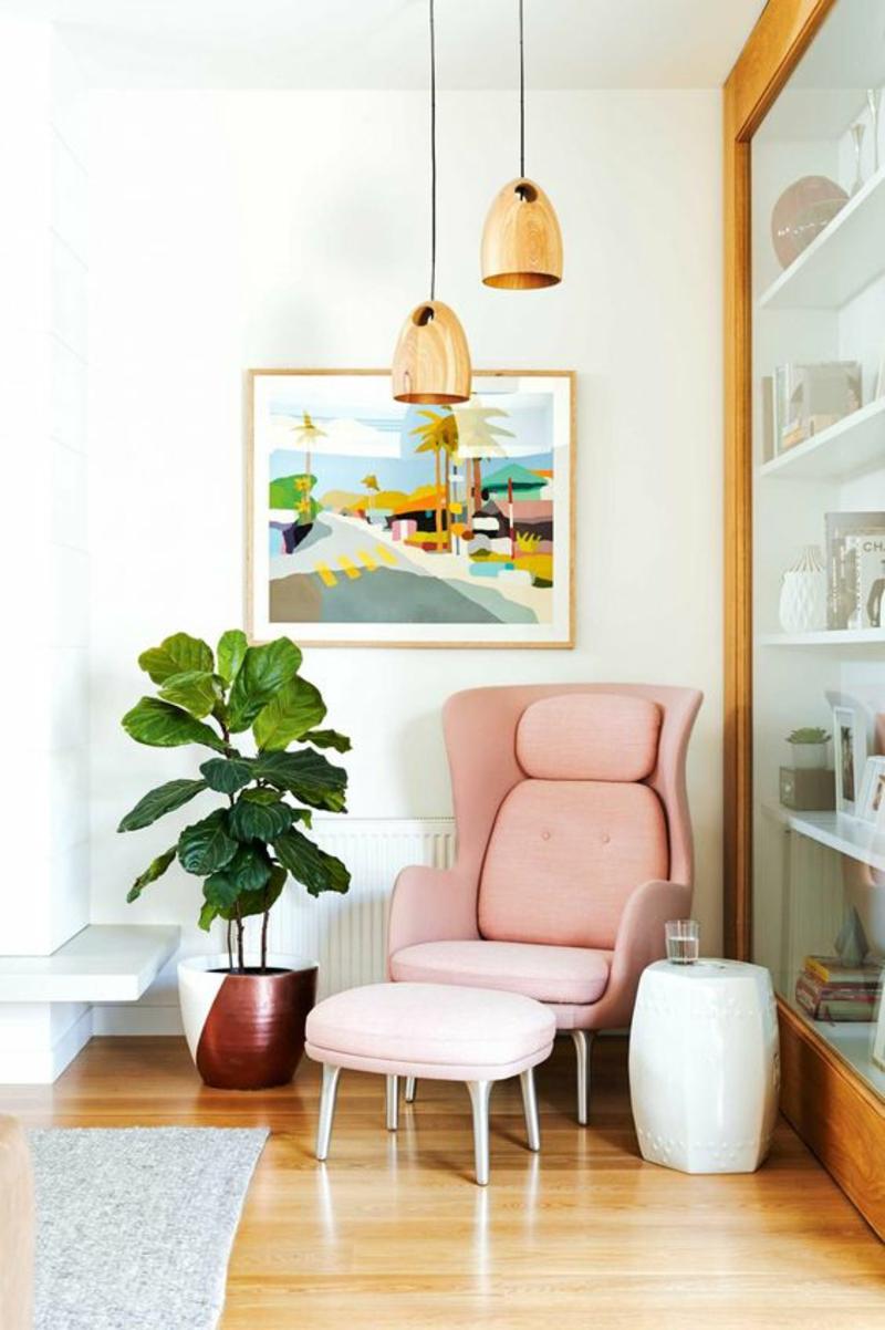 Inneneinrichtung planen Wohnzimmer Möbel Relax Sessel rosa