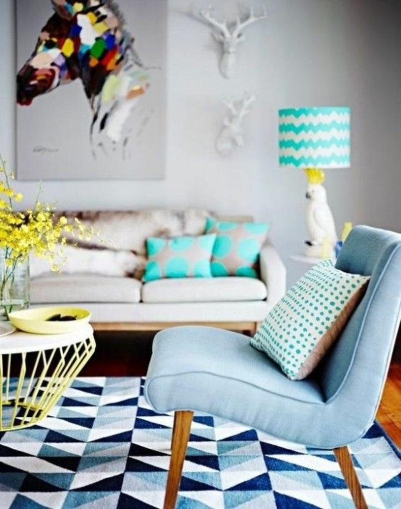Inneneinrichtung planen Wohnzimmer Möbel Sessel Sofa Couchtisch Tischlampe