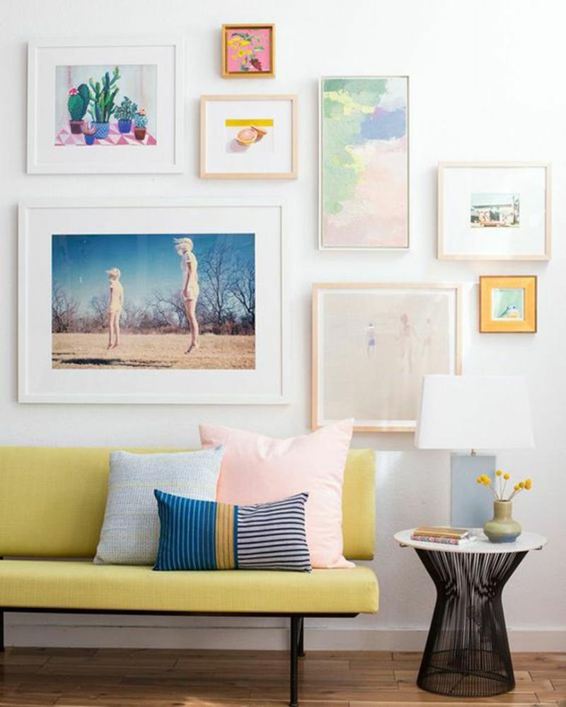 Inneneinrichtung planen Wohnzimmer Möbel Sofa Sofakissen Wanddeko Ideen