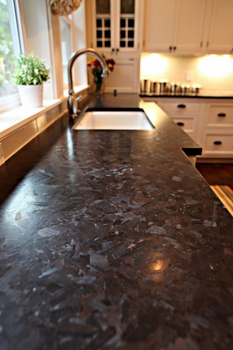 White And Grey Granite Kitchen Countertops
