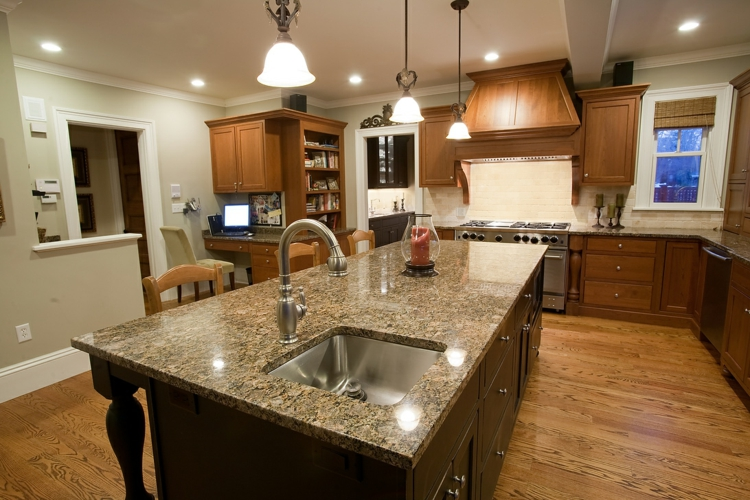 Küchenarbeitsplatten Granit rustikale Küchengestaltung Ideen