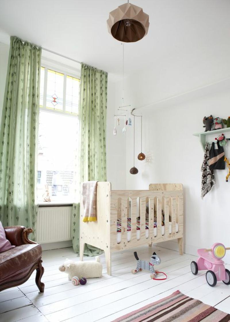 Kindergardinen Babyzimmer gestalten Gardinenideen Farben grün