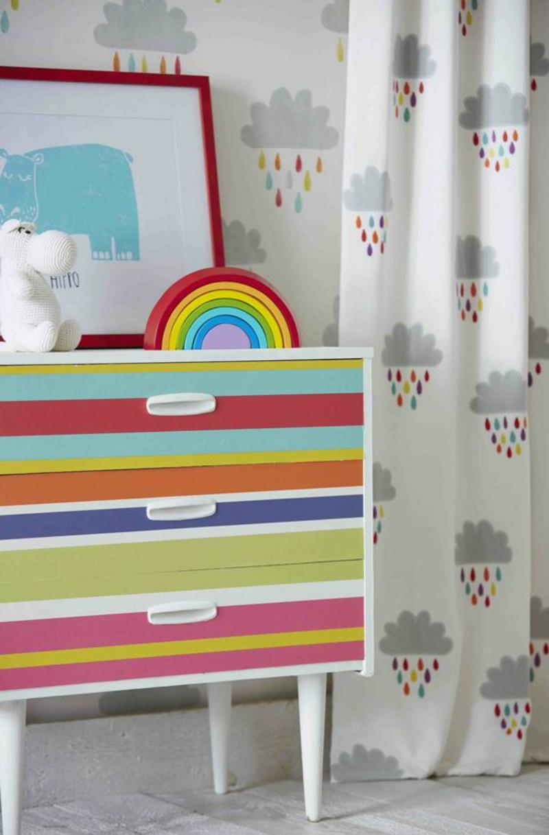 Kindergardinen Einrichtungsbeispiele Gardinen für Kinderzimmer Regen Wolken