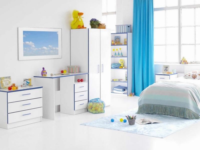 Kindergardinen Einrichtungsideen Kinderzimmer Jungen Gardinen blau