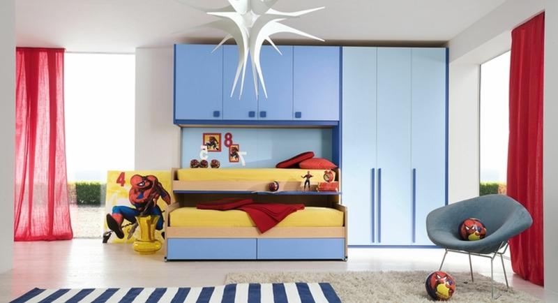 Kindergardinen Einrichtungsideen Kinderzimmer Jungen Gardinen rot