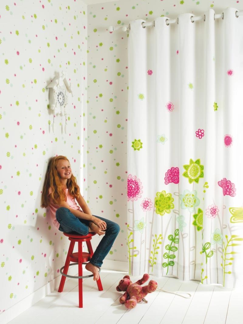 Kindergardinen Einrichtungsideen Kinderzimmer Mädchen Gardinen Blumenmuster