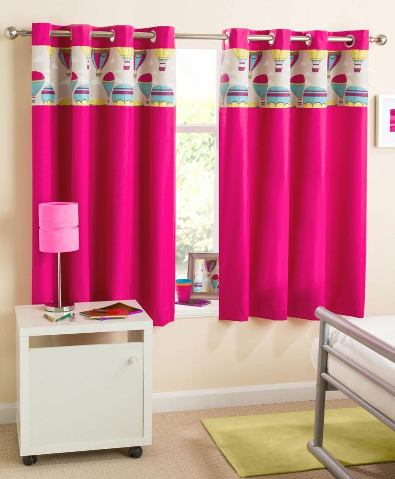 Kindergardinen Einrichtungsideen Kinderzimmer Mädchen Gardinen pink
