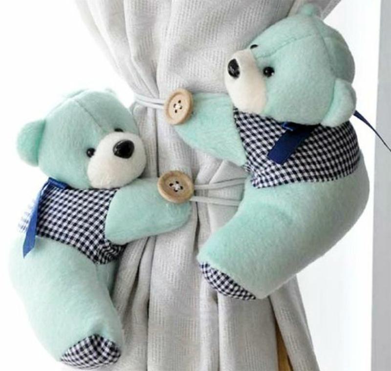 Kindergardinen Gardinenideen Kinderzimmer Jungen Gardinenhalter Bären
