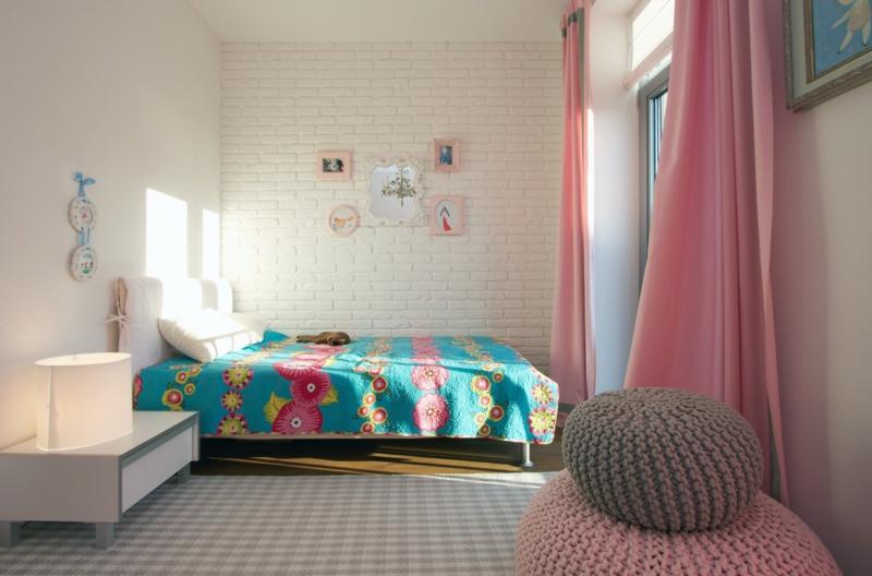 Kindergardinen Ideen Kinderzimmer Mädchen Gardinen hellrosa