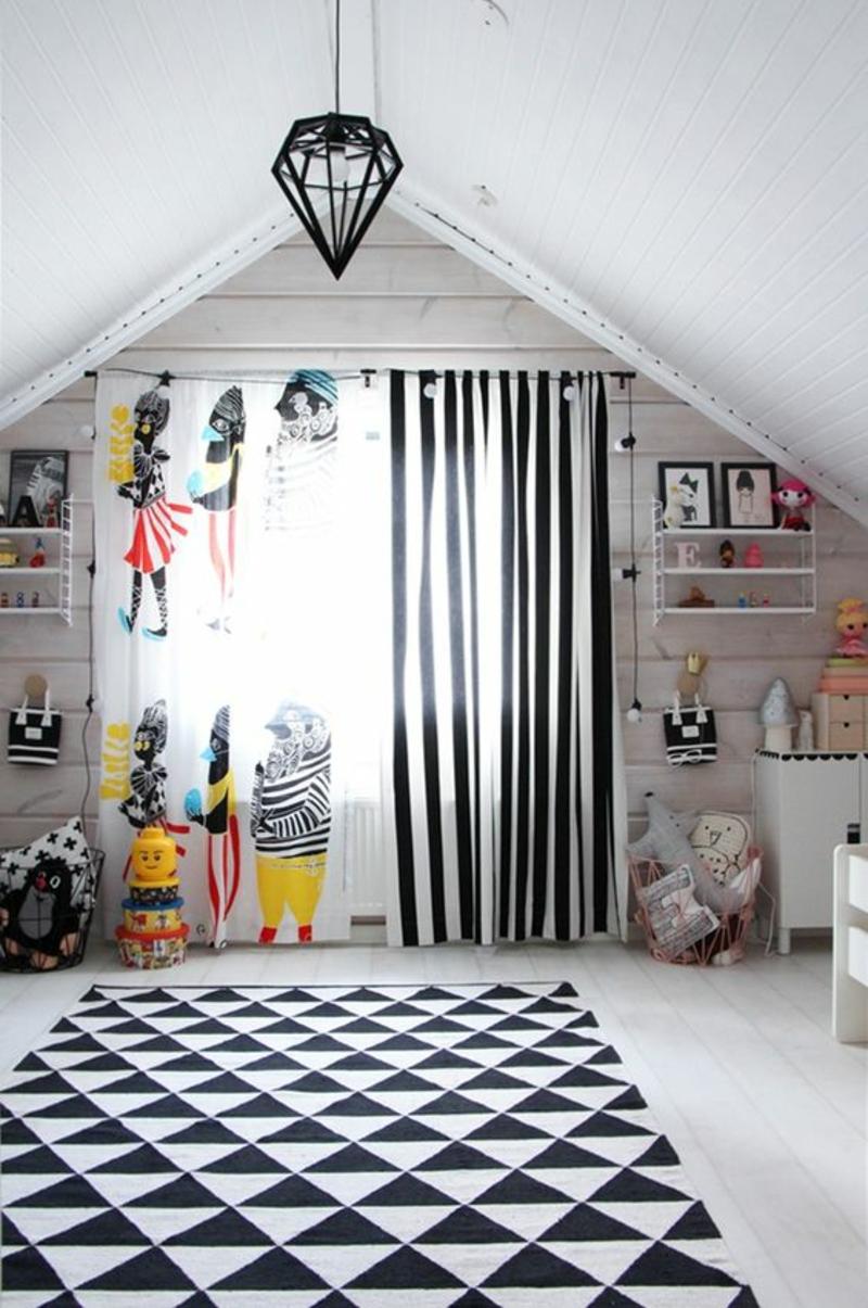 Kindergardinen Kinderzimmer gestalten Gardinen und Tapeten Muster schwarz weiß Streifen