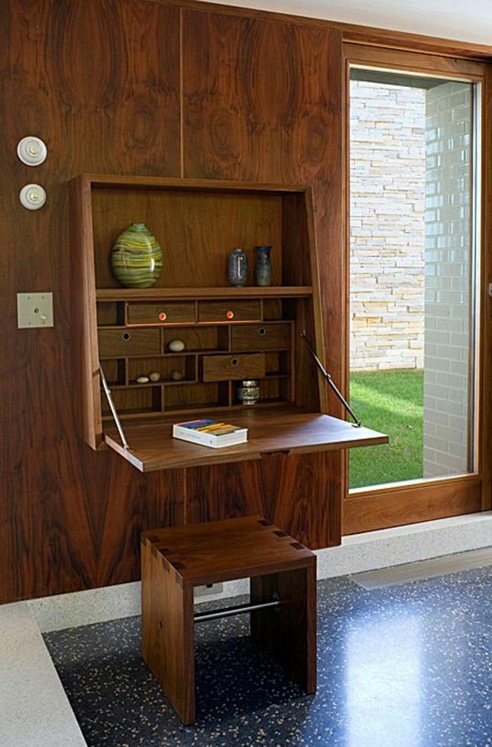 Klappschreibtisch Home Office einrichten Wandschrank Holz