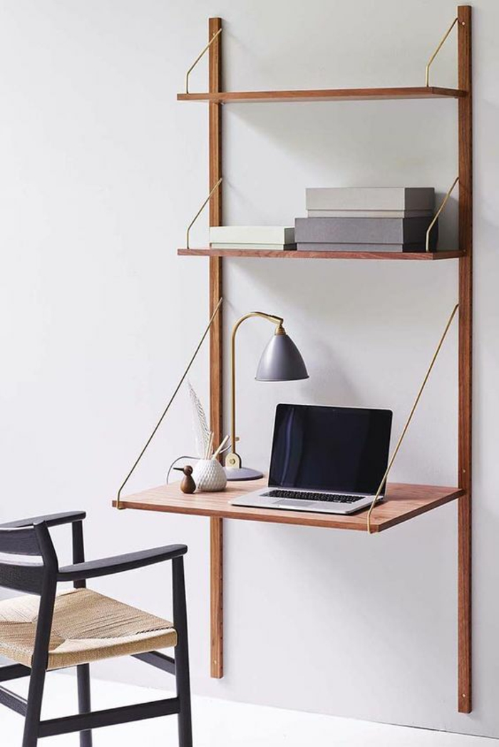 Klappschreibtisch kleines Home Office Wandregal