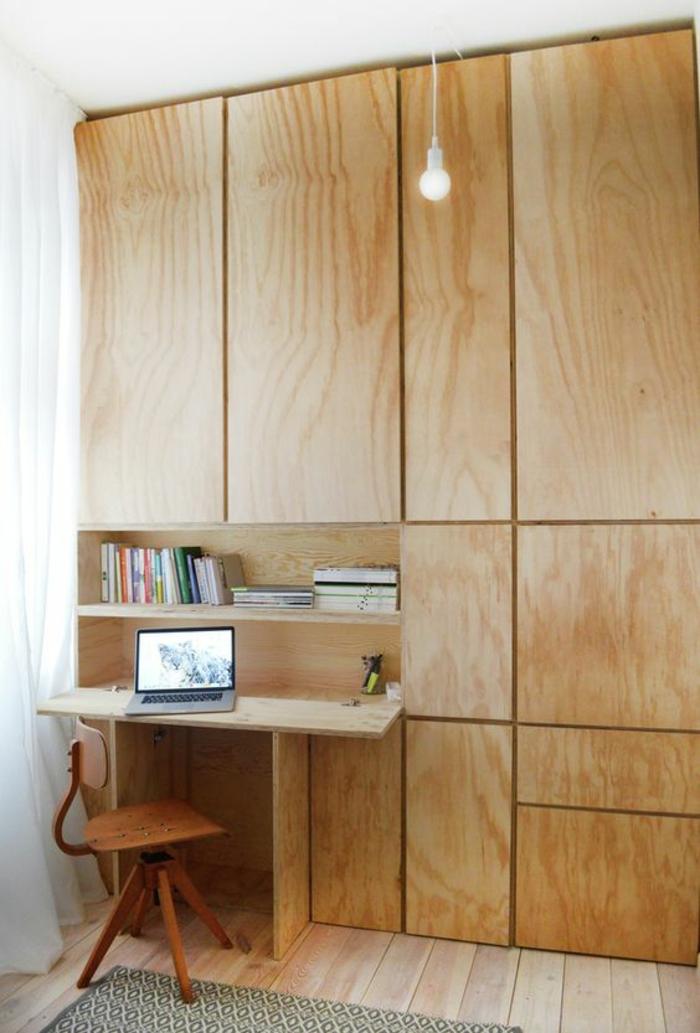 Klappschreibtisch kleines Home Office einrichten Holzschrank