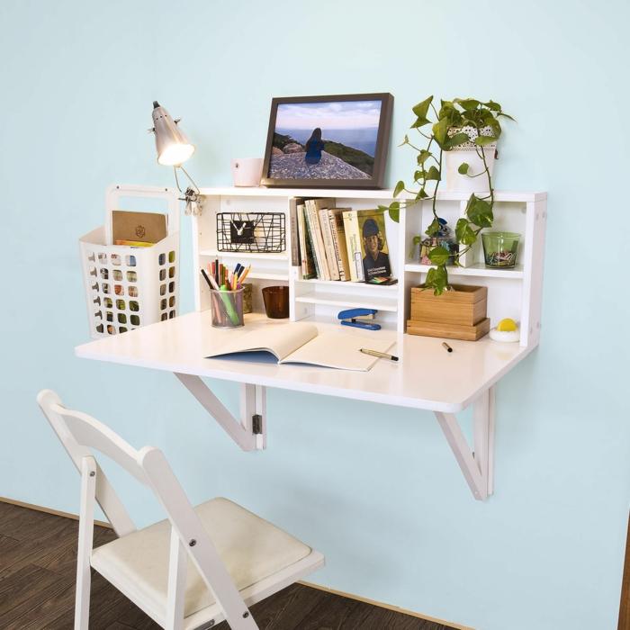 Klappschreibtisch kleines Home Office einrichten kleiner Bürotisch