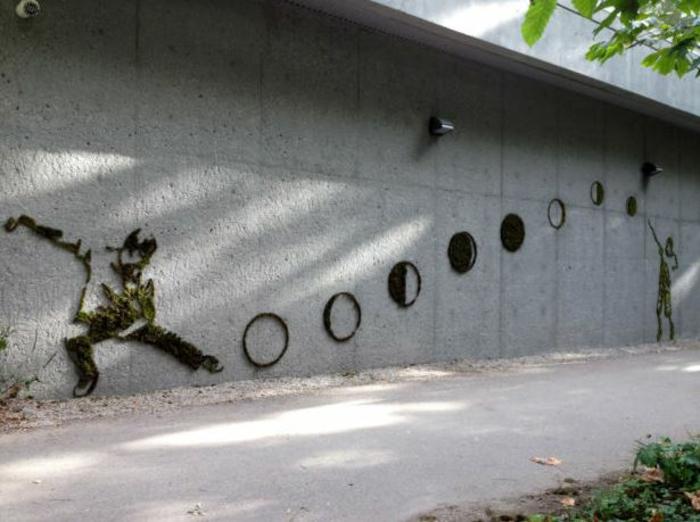 Moos Graffiti streetart künstler ornament gebilde