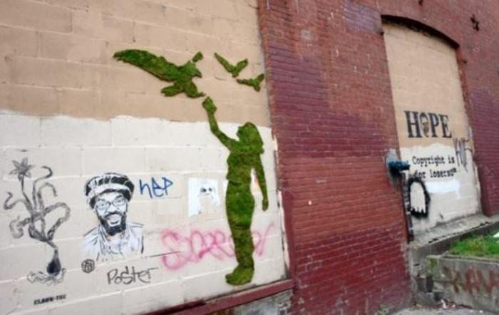 Moos Graffiti streetart künstler ornament maedchen