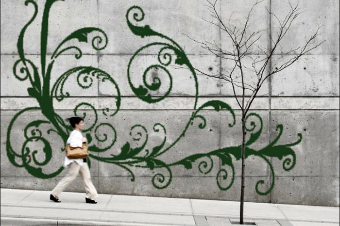 Moos Graffiti streetart künstler ornament wand strasse passant