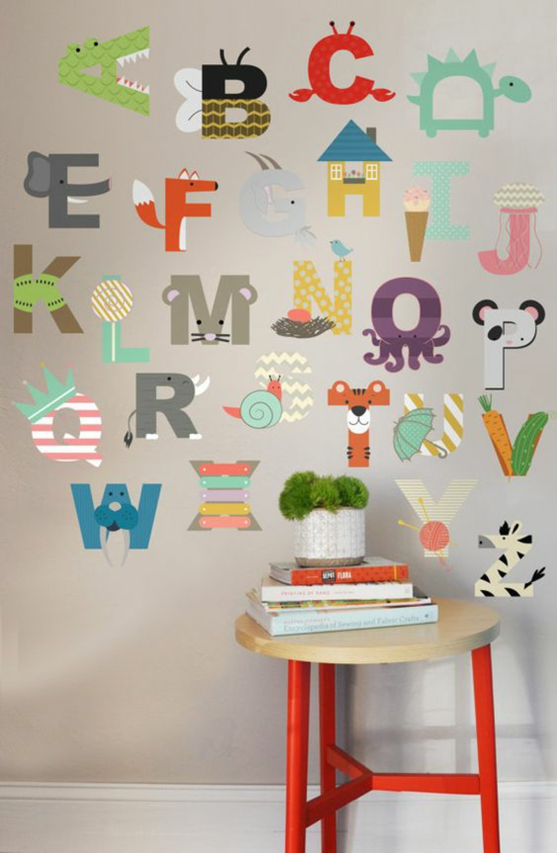 Mustertapeten Alphabet Tapeten Kinderzimmer gestalten
