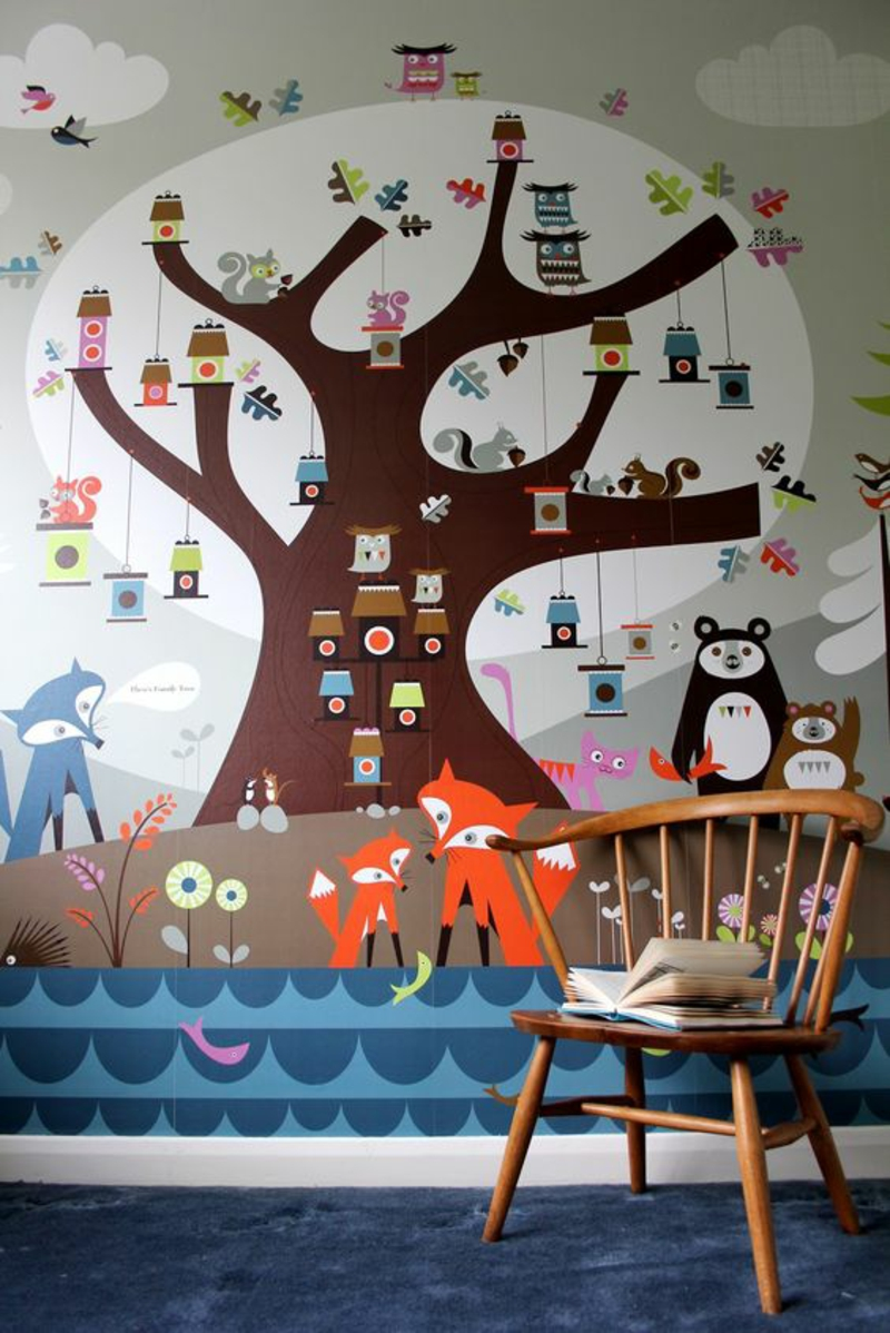 Mustertapeten Baum Tapeten für Kinderzimmer gestalten