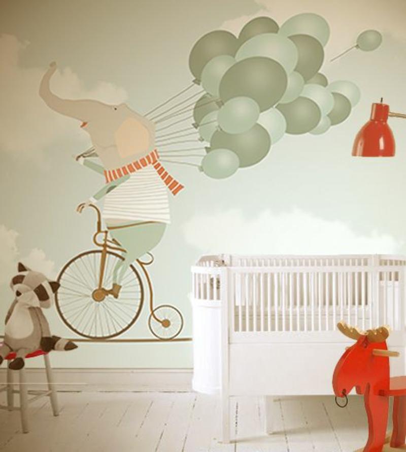 Mustertapeten Elefant mit Luftballons Tapeten für Kinderzimmer gestalten
