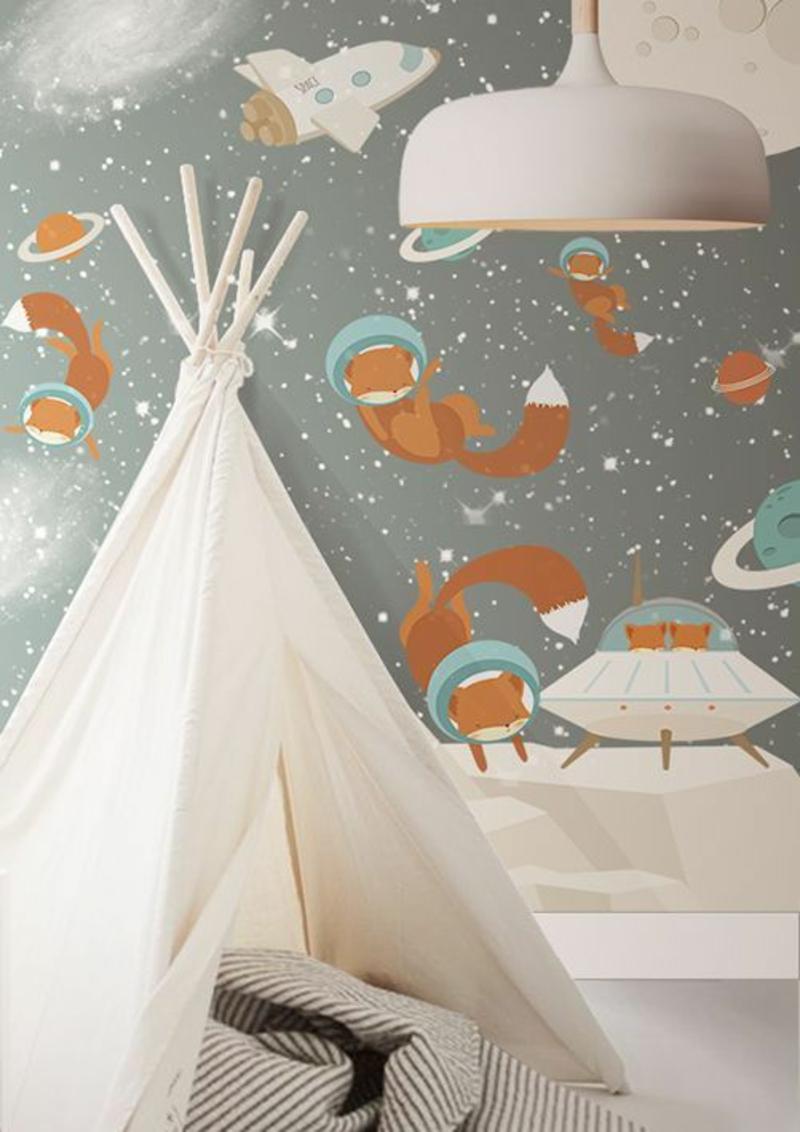 Mustertapeten Füchse im All Tapeten für Kinderzimmer gestalten